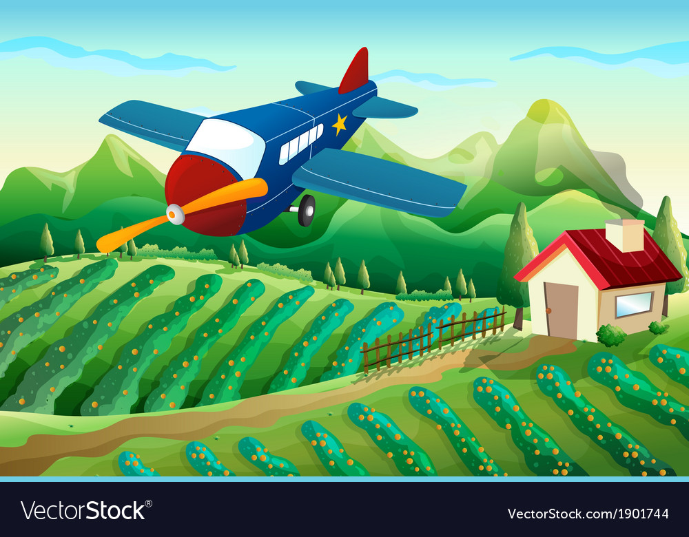 An airplane above the farm vector | Price: 3 Credit (USD $3)