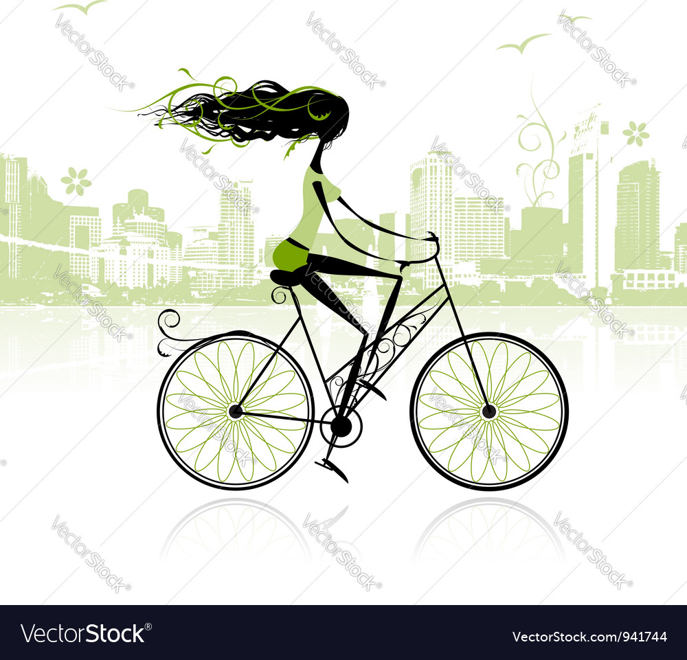Girl cycling in the city vector | Price: 1 Credit (USD $1)