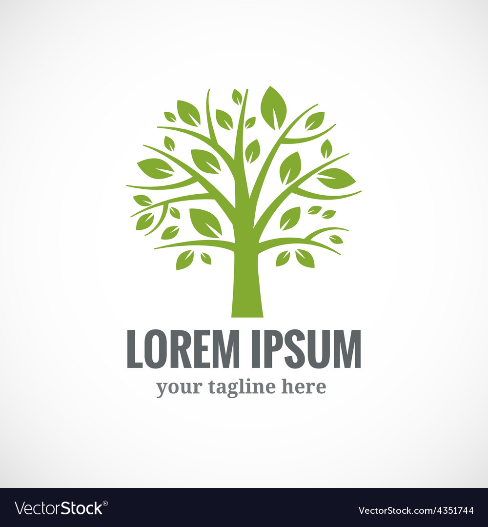 Green tree logo design template vector