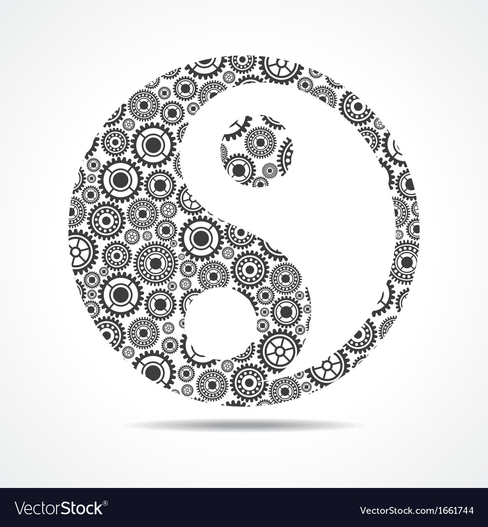 Group of gear make ying and yang symbol vector | Price: 1 Credit (USD $1)
