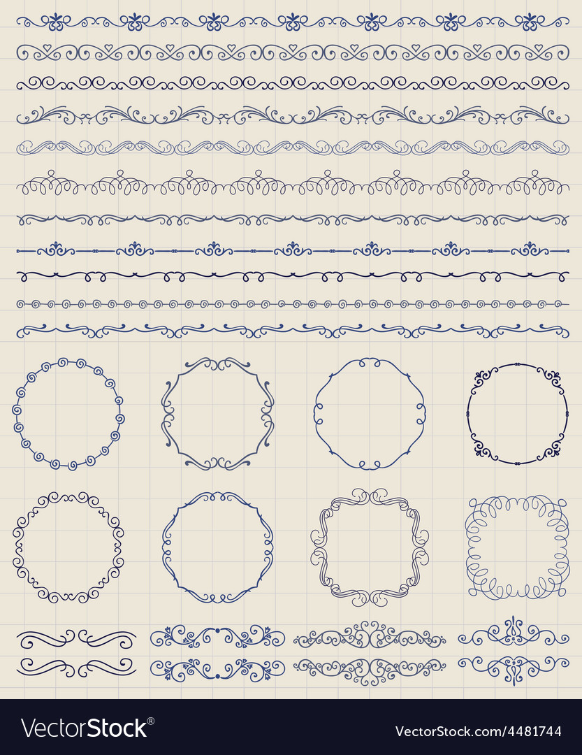 Hand sketched borders and frames dividers swirls vector   Price: 1 Credit (USD $1)