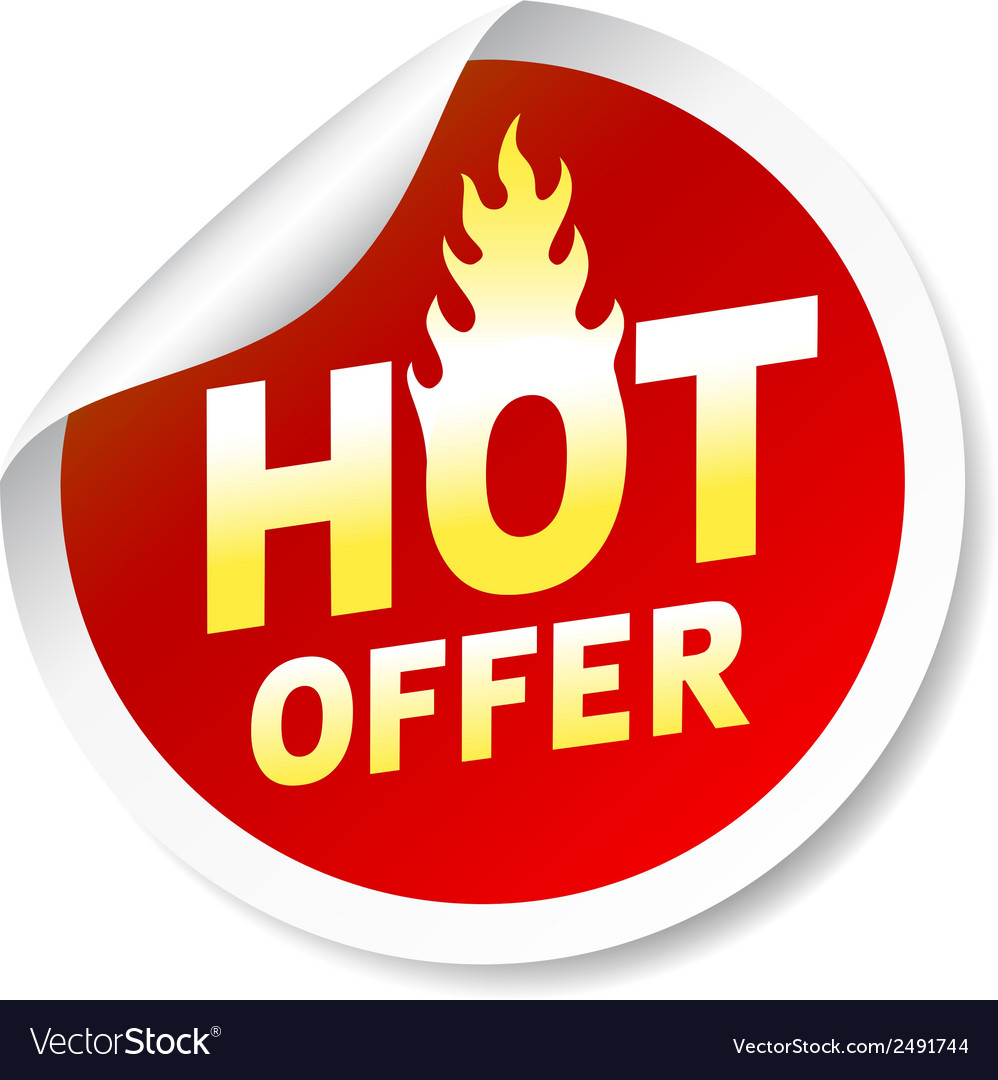 Hot ofer sticker badge with flame vector | Price: 1 Credit (USD $1)