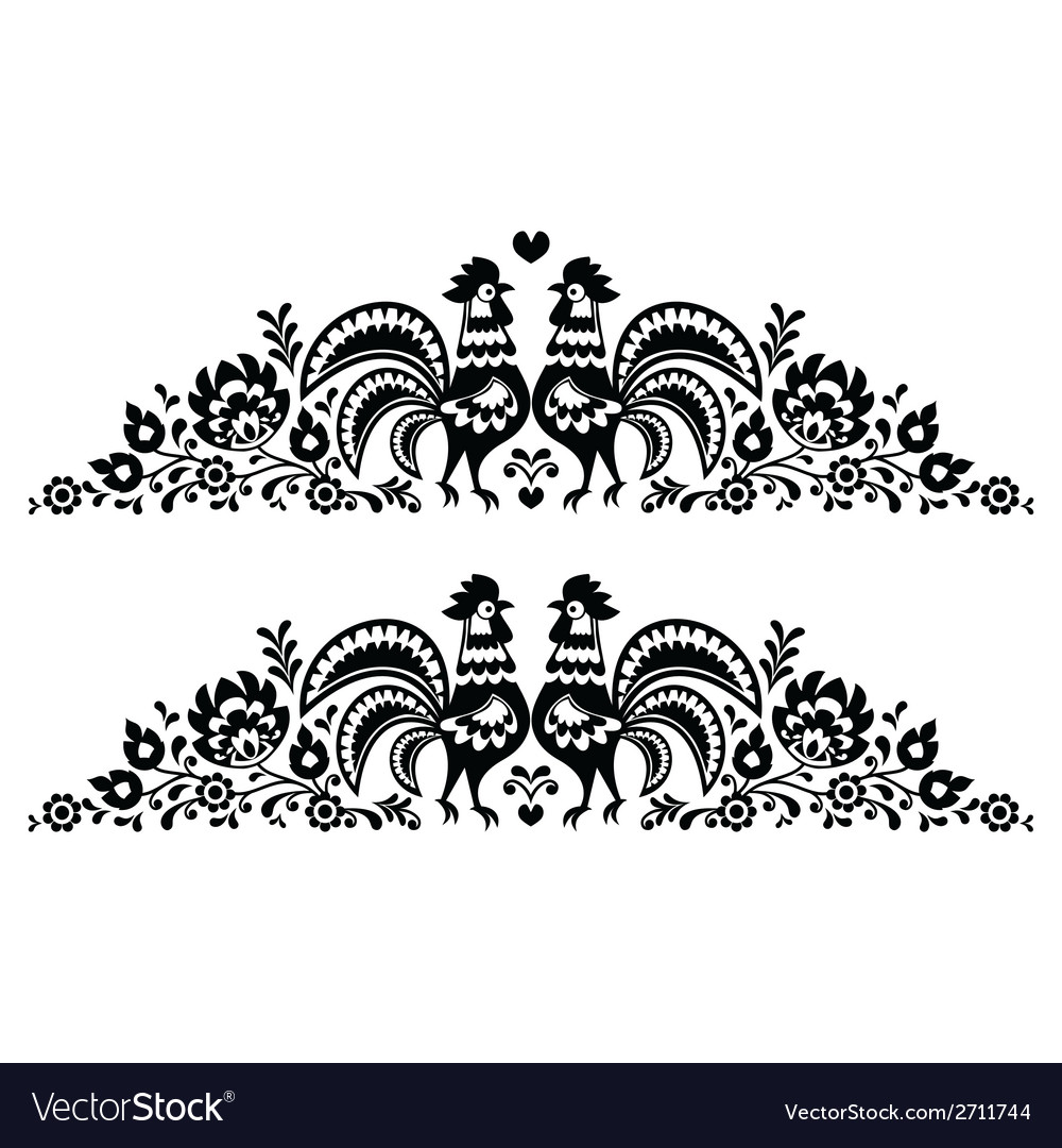 Polish floral folk art long embroidery pattern vector | Price: 1 Credit (USD $1)