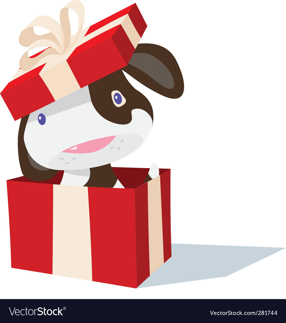 Puppy in box vector | Price: 1 Credit (USD $1)