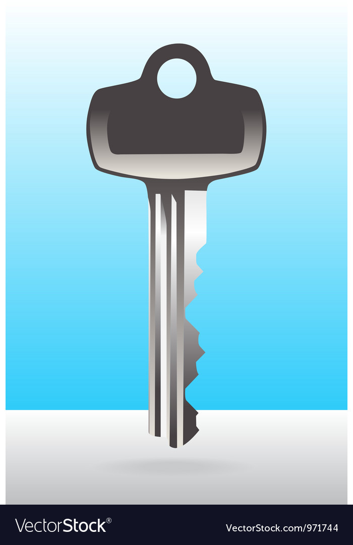 Silver house door key vector | Price: 1 Credit (USD $1)