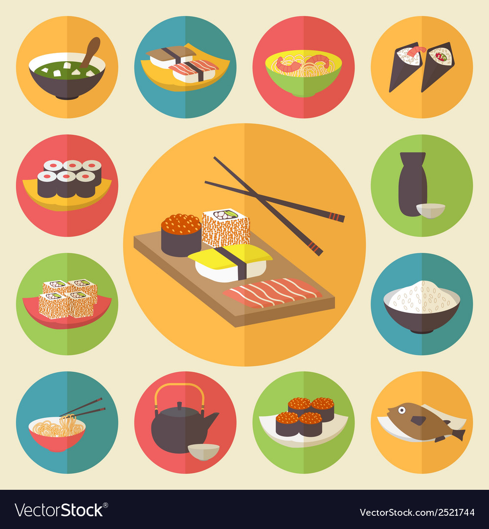 Sushi japanese cuisine food icons set flat design vector | Price: 1 Credit (USD $1)