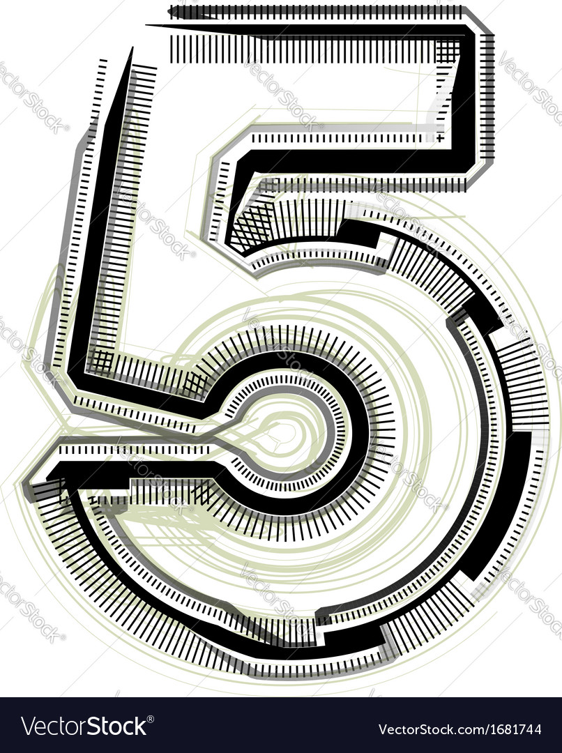 Technological font number 5 vector | Price: 1 Credit (USD $1)