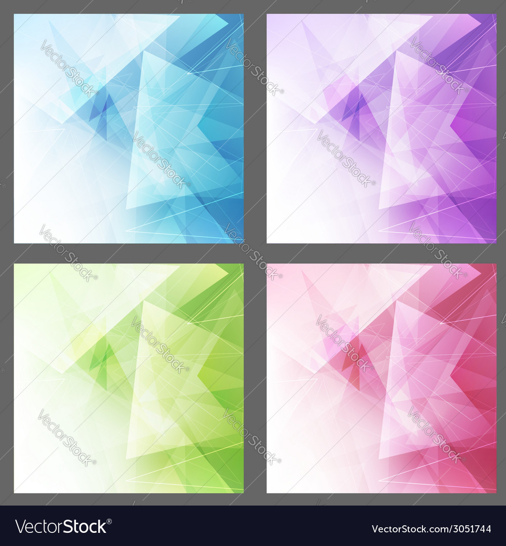 Triangle structure backgrounds set templates vector | Price: 1 Credit (USD $1)
