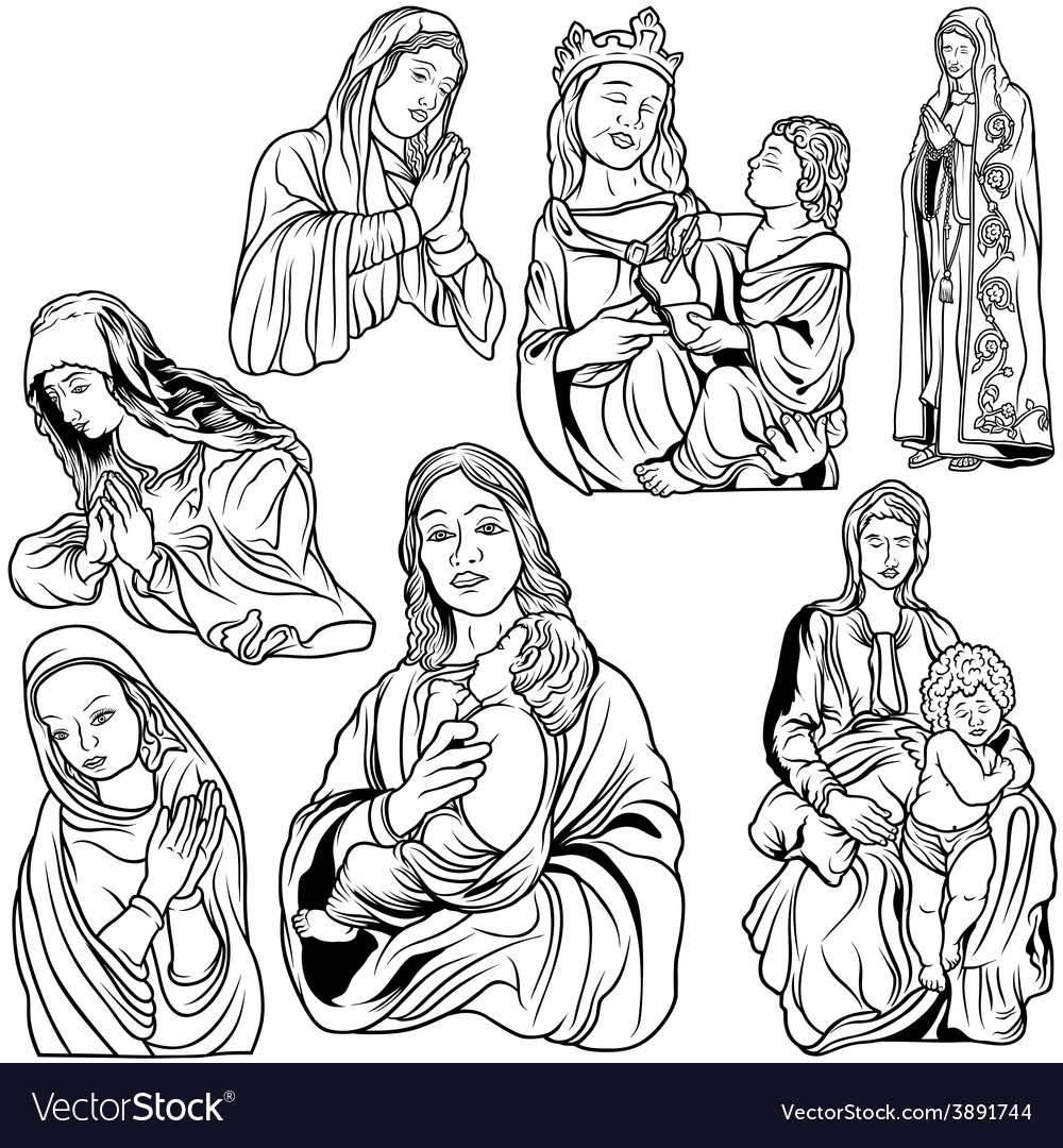Virgin mary set vector | Price: 3 Credit (USD $3)