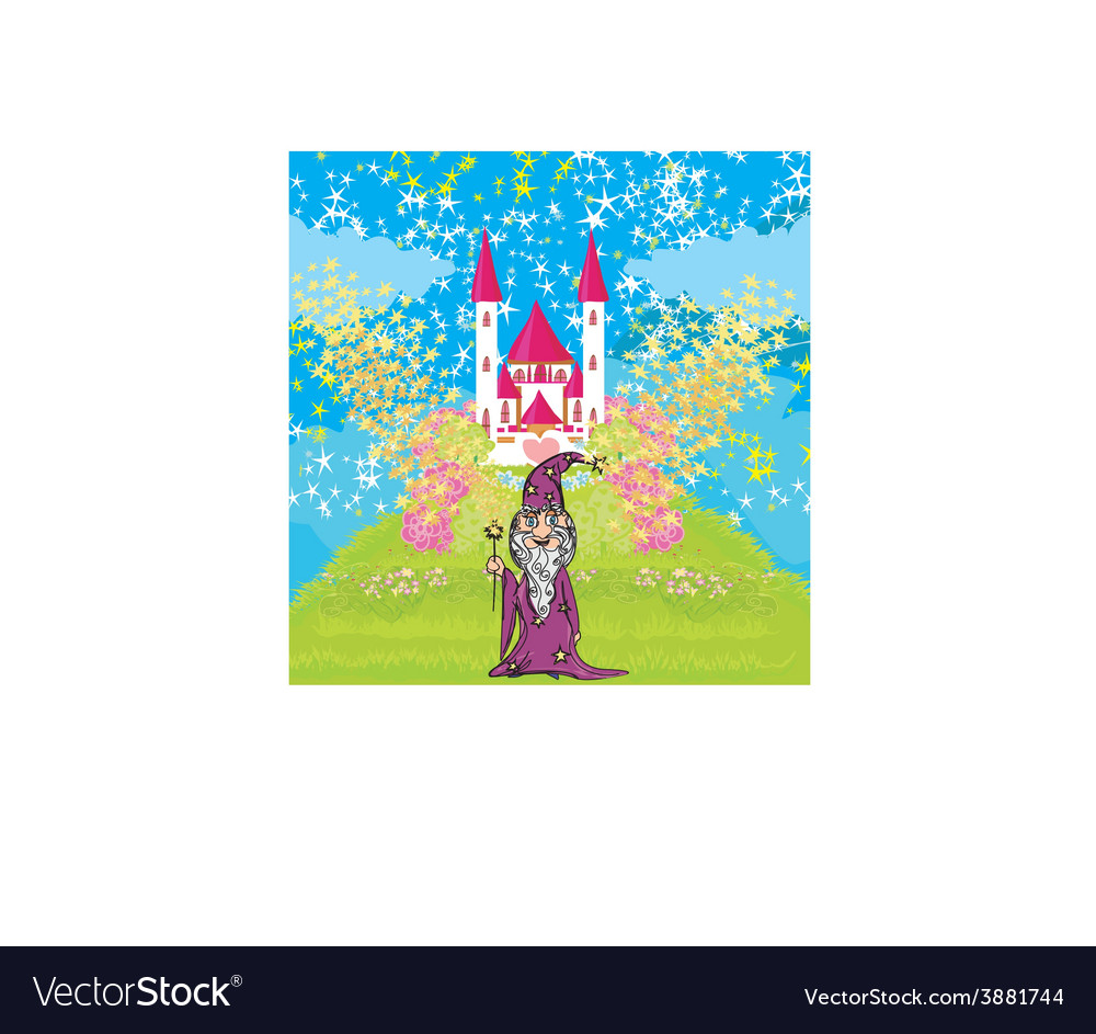 Wizard uses magic in front of fairy-tale castle vector | Price: 1 Credit (USD $1)