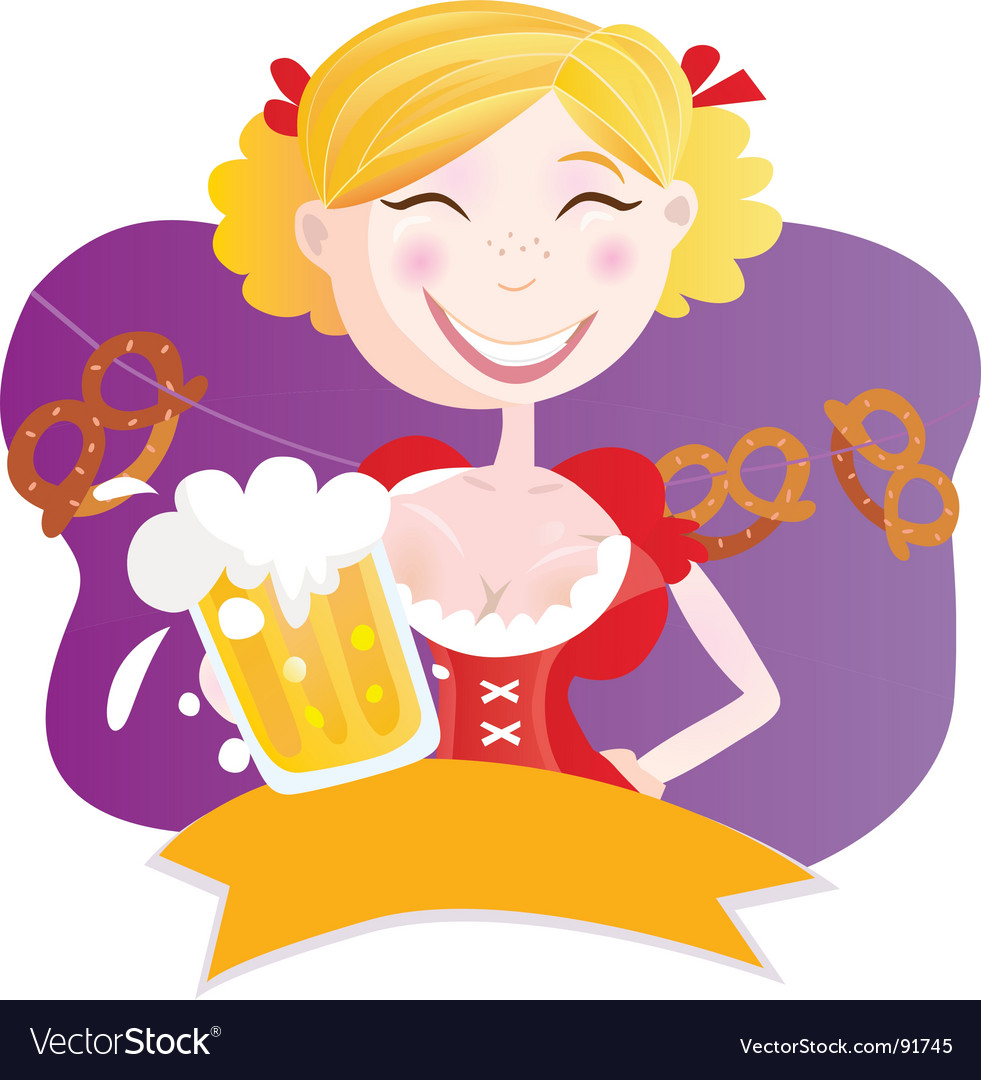 Bavarian woman with beer vector | Price: 1 Credit (USD $1)