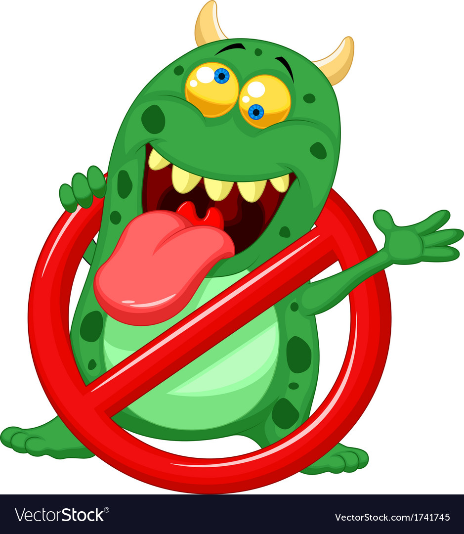 Cartoon stop virus - green virus in red alert sign vector | Price: 1 Credit (USD $1)