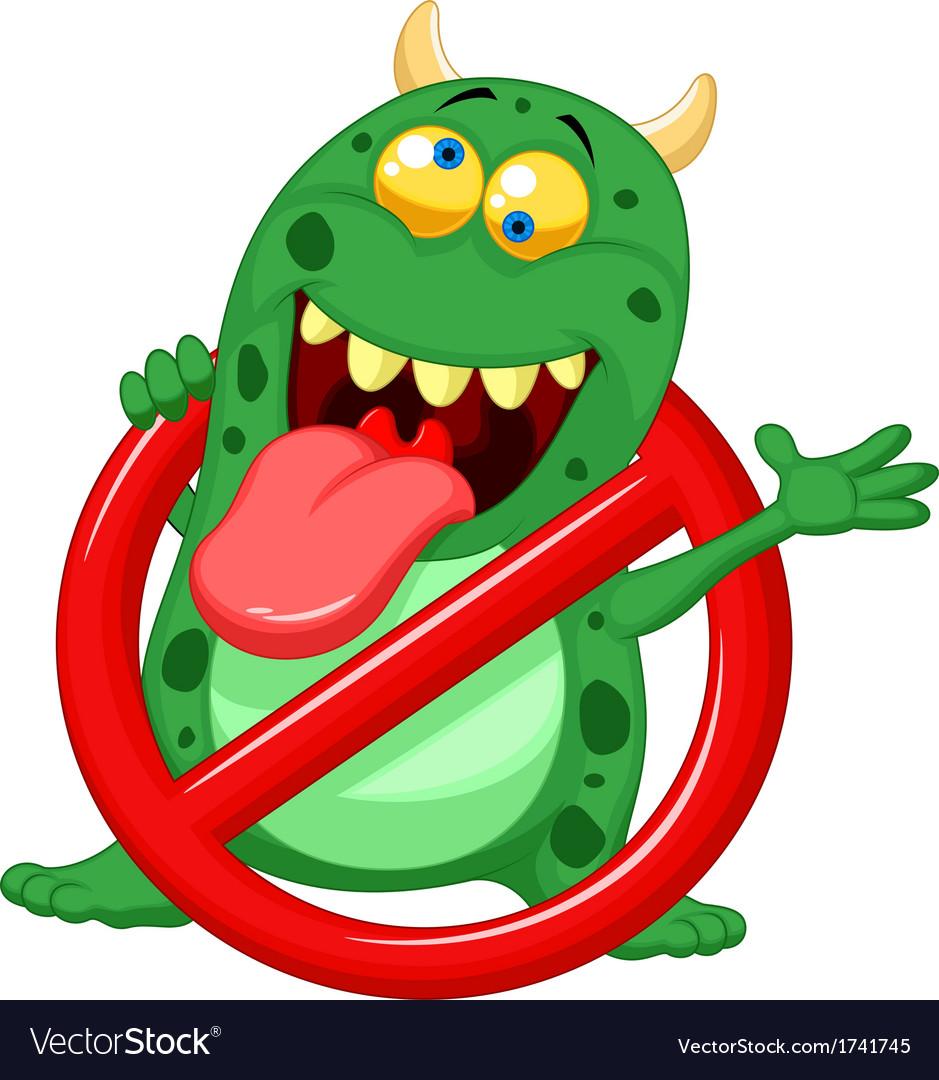 Cartoon stop virus - green virus in red alert sign vector | Price: 1 Credit (USD $1)