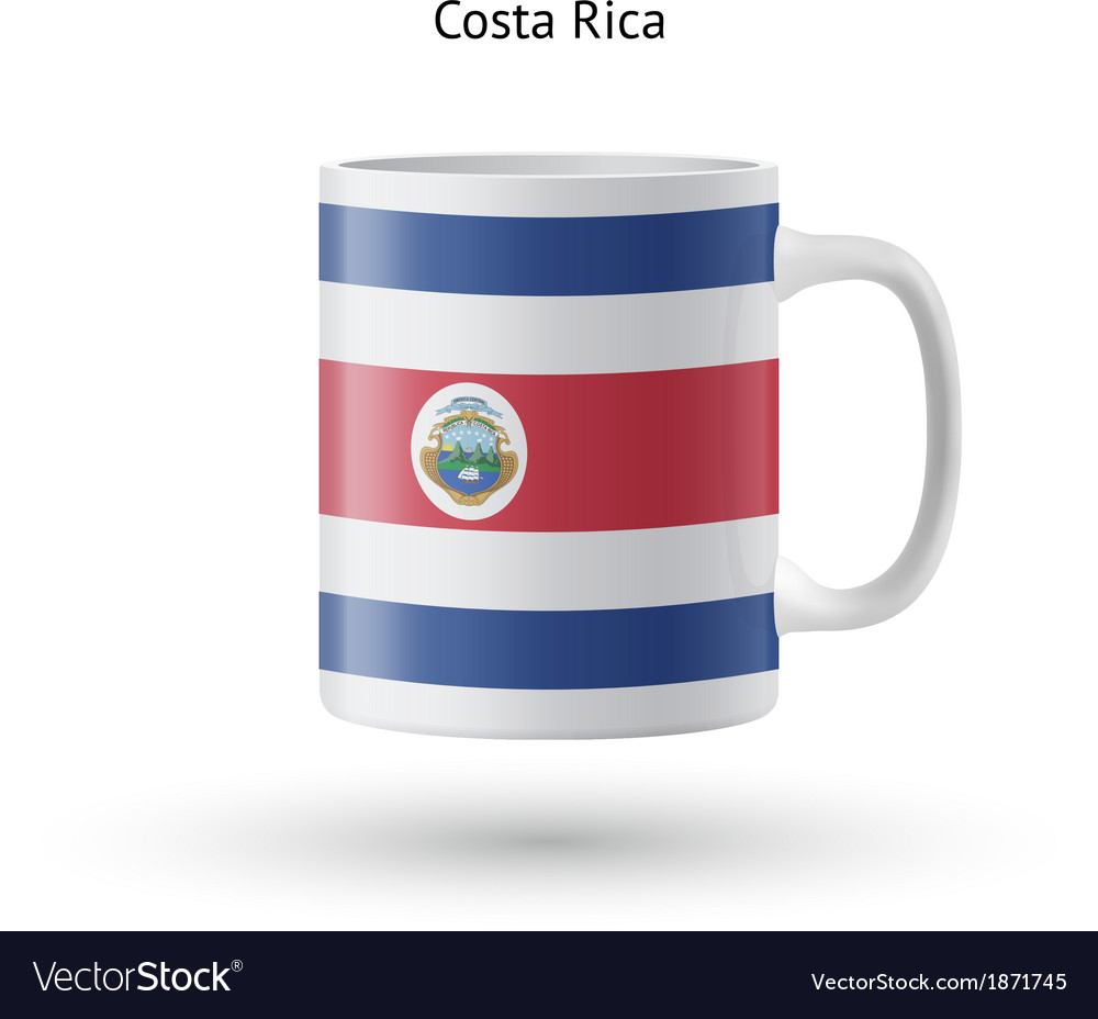 Costa rica flag souvenir mug on white background vector | Price: 1 Credit (USD $1)
