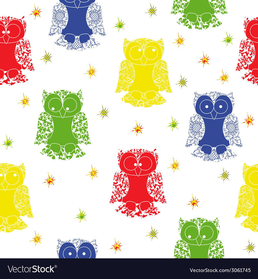 Different colour owl and stars seamless pattern vector | Price: 1 Credit (USD $1)