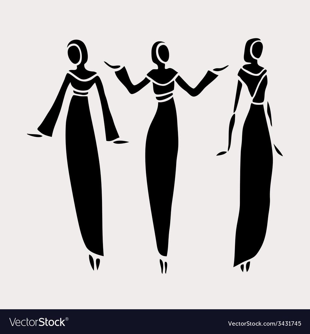East women in veiled vector   Price: 1 Credit (USD $1)