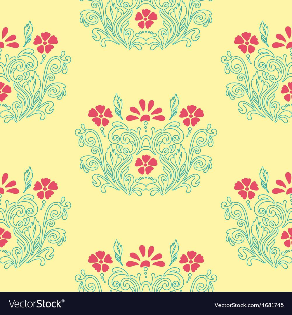 Floral retro pattern vector | Price: 1 Credit (USD $1)