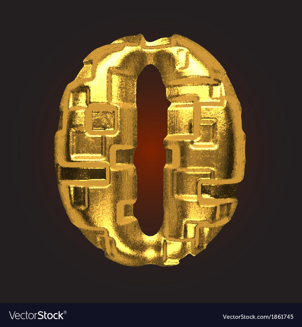 Golden letter 0 vector | Price: 1 Credit (USD $1)