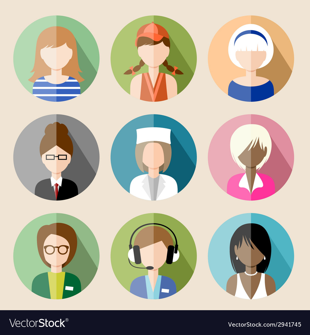 Set of circle flat icons with women vector   Price: 1 Credit (USD $1)