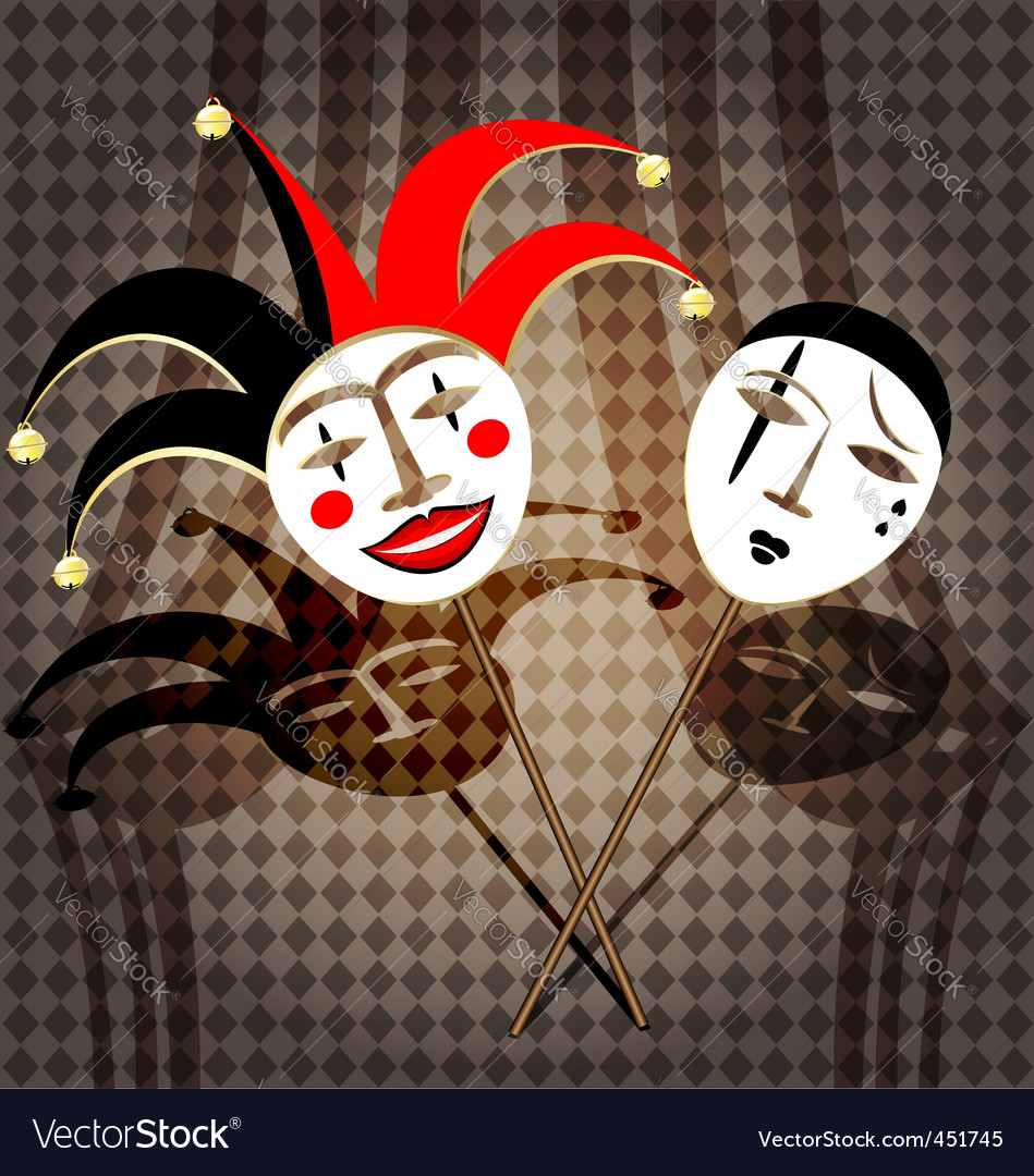 Two masks clown vector | Price: 1 Credit (USD $1)