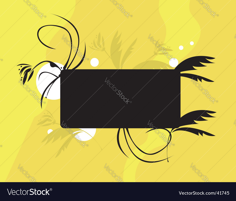 Yellow black floral vector | Price: 1 Credit (USD $1)