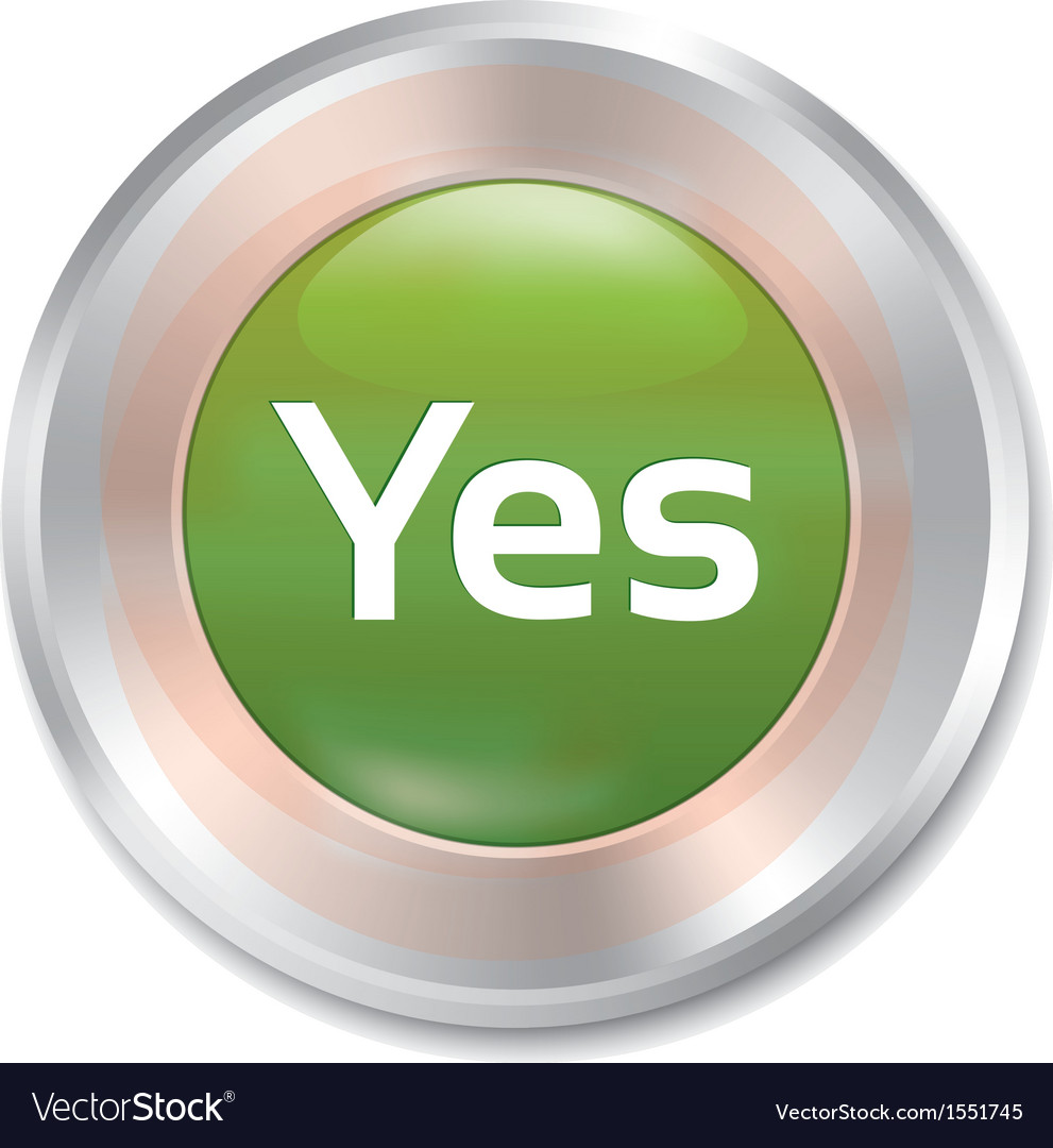 Yes button accept green round sticker vector | Price: 1 Credit (USD $1)