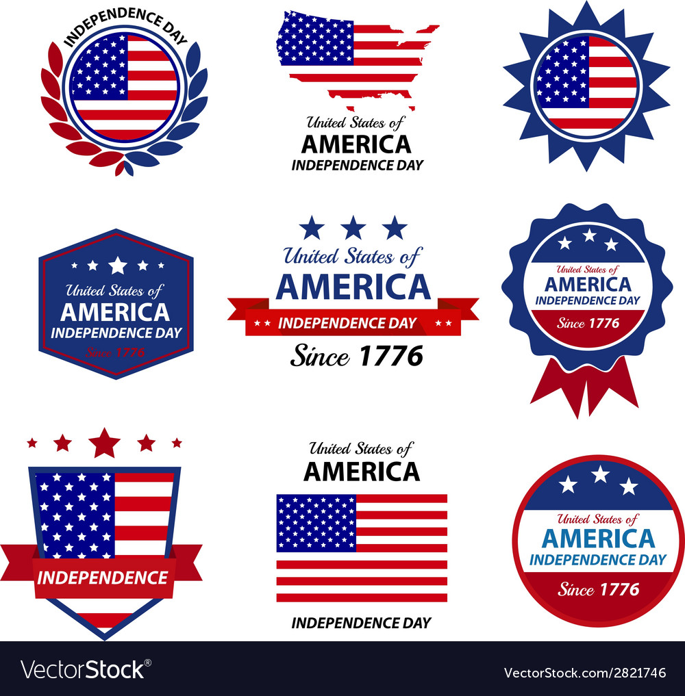 4th happy independence day badge and label vector | Price: 1 Credit (USD $1)