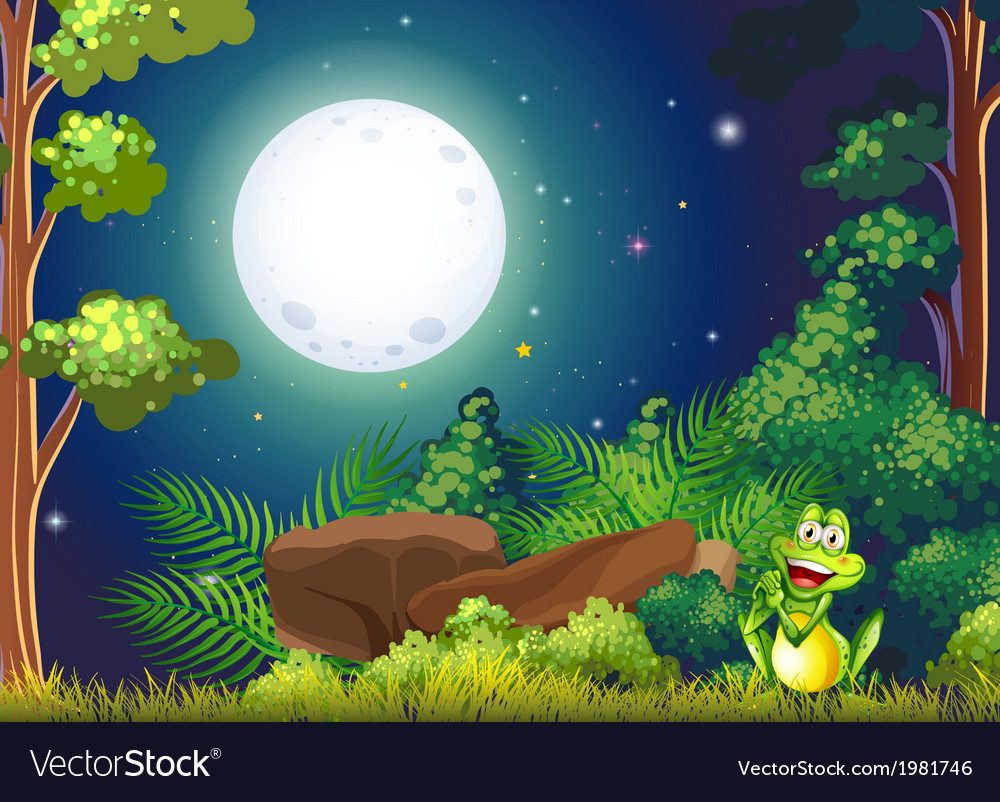 A forest with a smiling frog near the rock vector | Price: 1 Credit (USD $1)