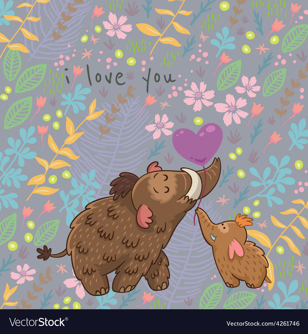 Cartoon floral card with mammoth vector | Price: 1 Credit (USD $1)