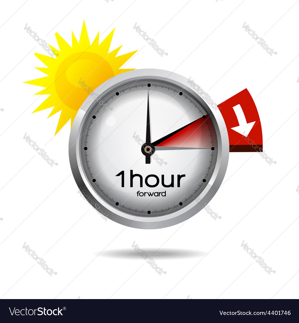 Clock switch to summer time daylight saving time vector | Price: 3 Credit (USD $3)
