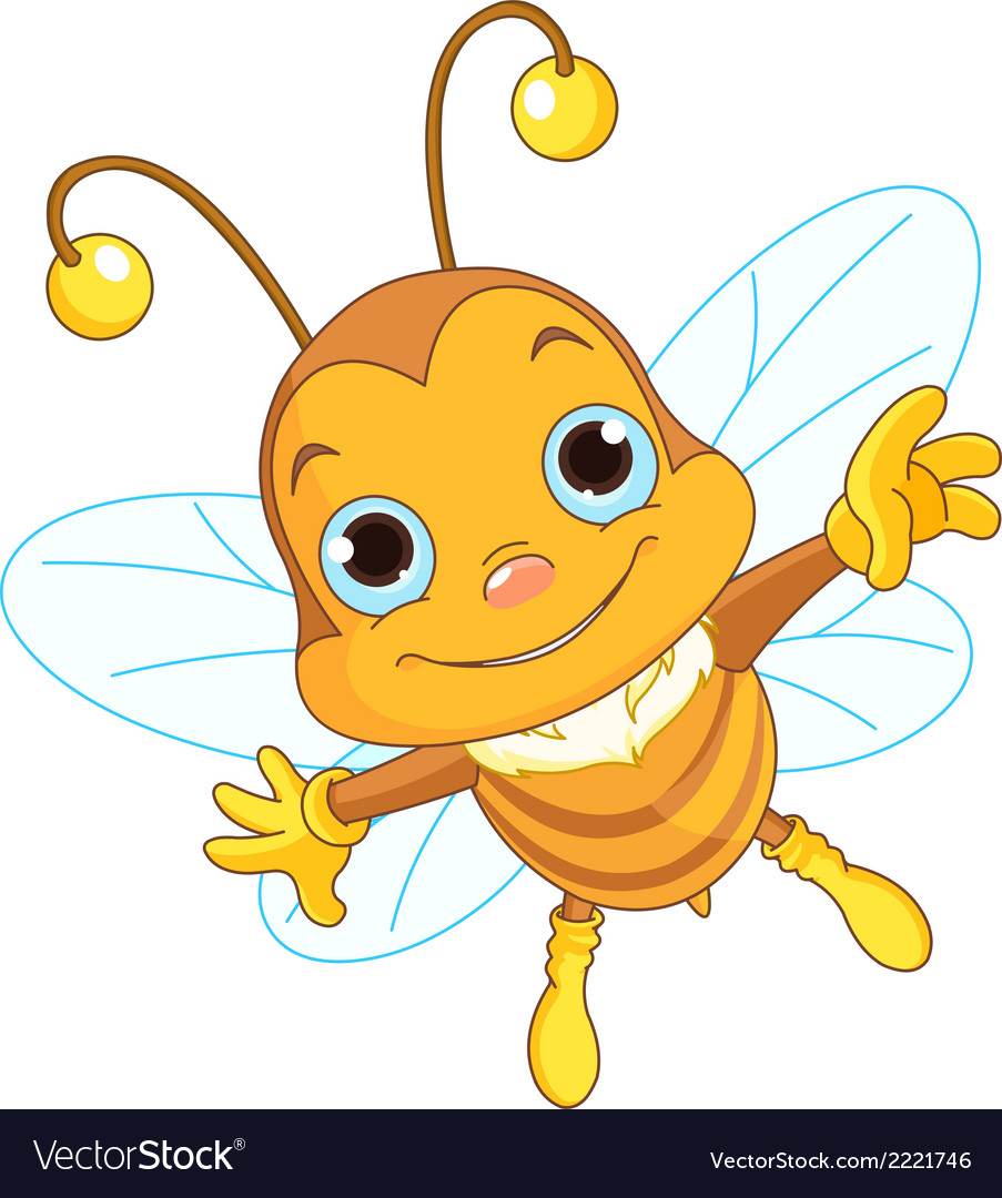 Cute bee flying vector | Price: 1 Credit (USD $1)