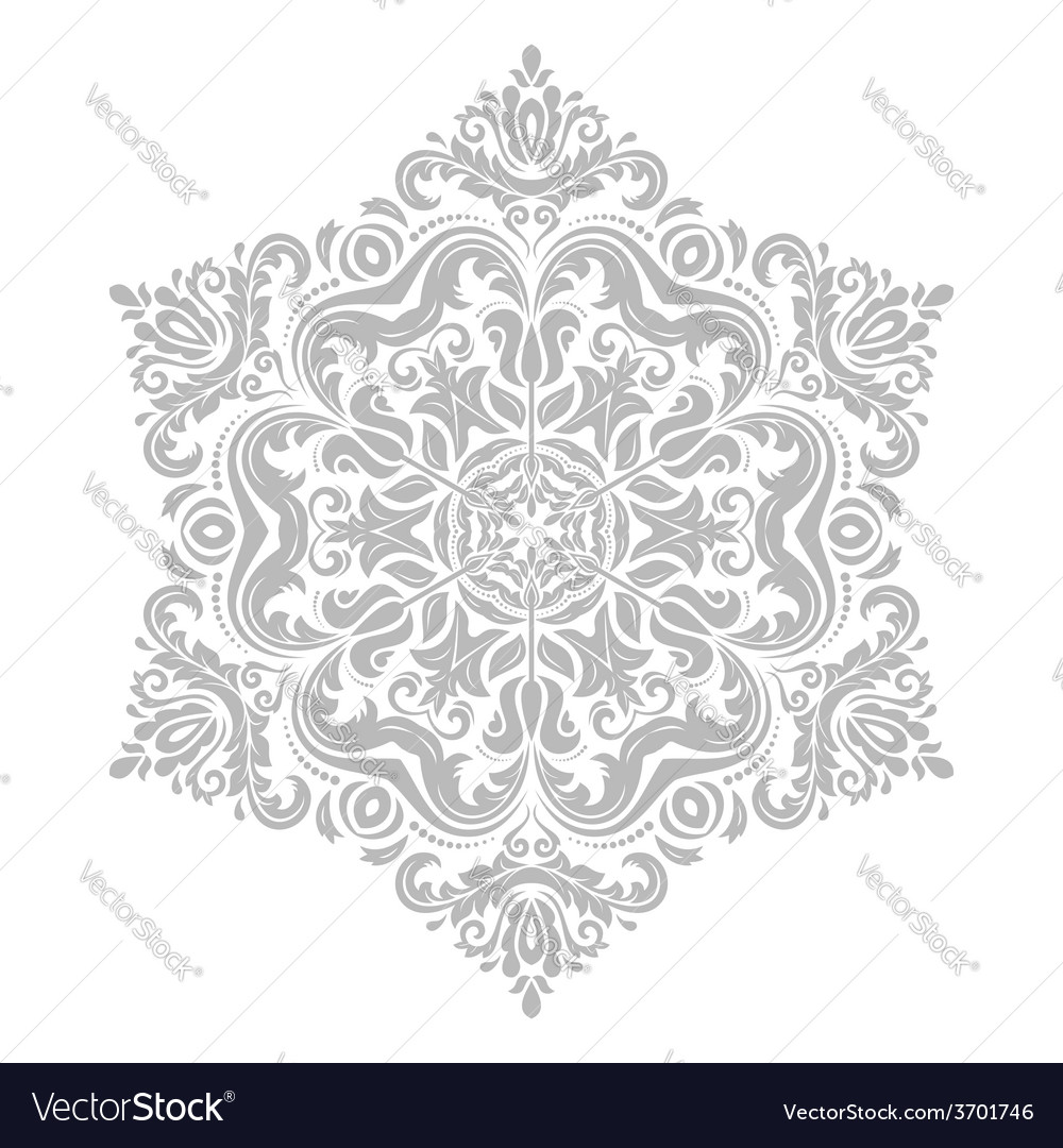 Damask pattern orient grey ornament vector | Price: 1 Credit (USD $1)