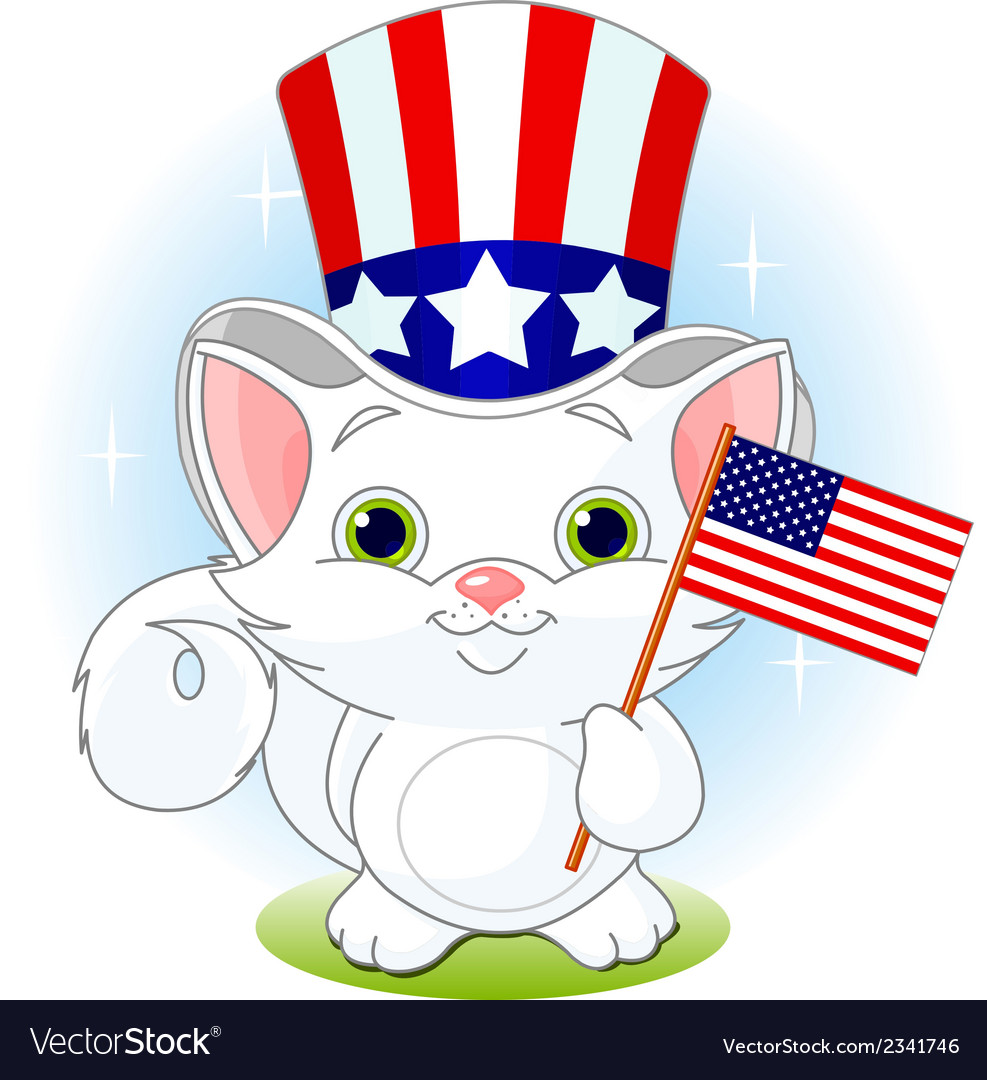 Fourth of july kitten vector | Price: 1 Credit (USD $1)