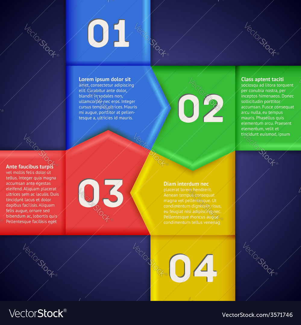 Infographics with square of numbered pointers vector | Price: 1 Credit (USD $1)