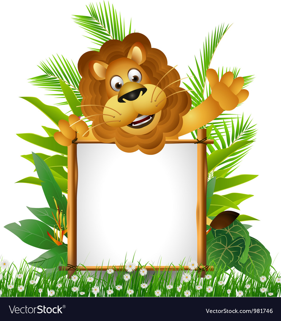 Lion cartoon with blank sign vector | Price: 3 Credit (USD $3)