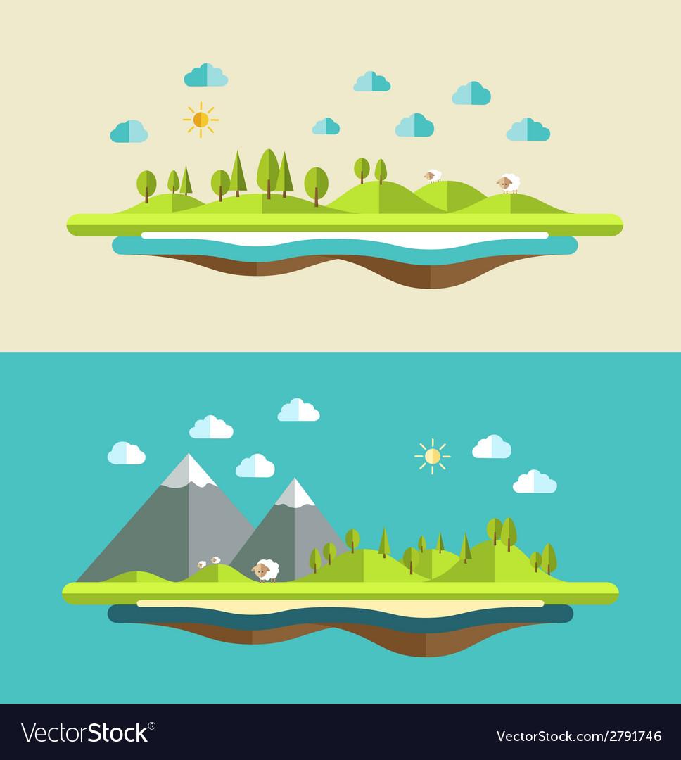 Modern flat design conceptual landscape vector | Price: 1 Credit (USD $1)