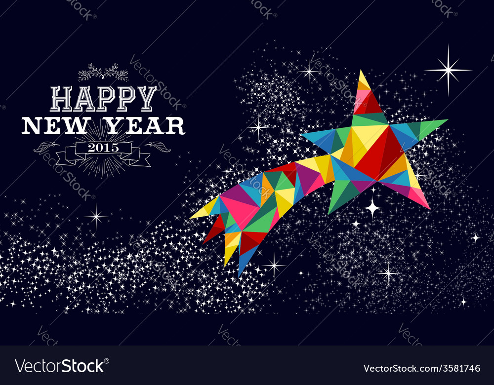 New year 2015 shooting star card vector