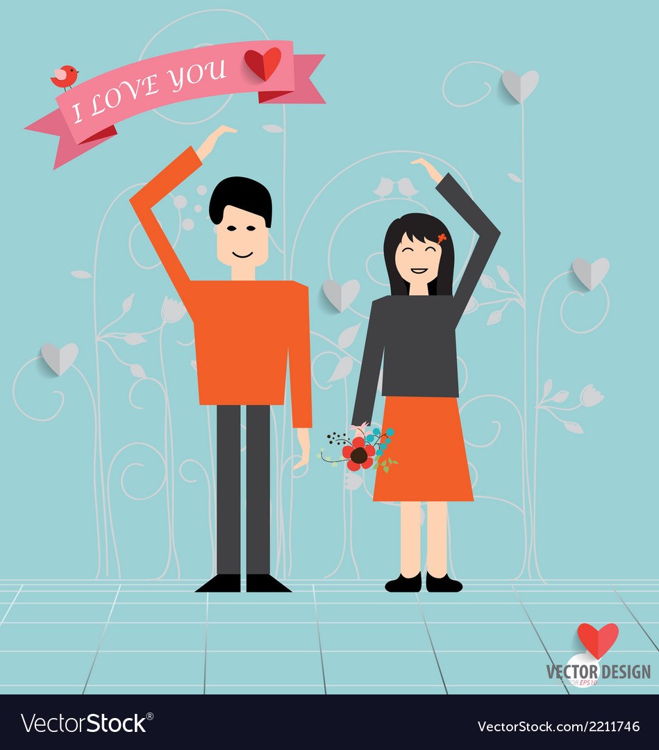 Romantic concept couple in love making heart love vector | Price: 1 Credit (USD $1)