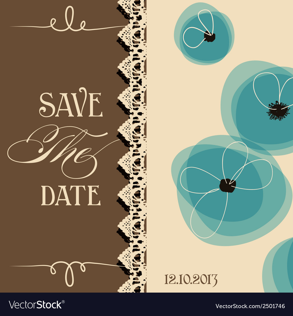 Save the date elegant invitation floral design vector | Price: 1 Credit (USD $1)