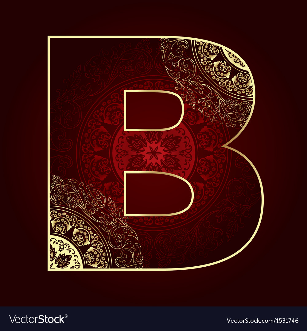 Vintage alphabet with floral swirls letter b vector | Price: 1 Credit (USD $1)