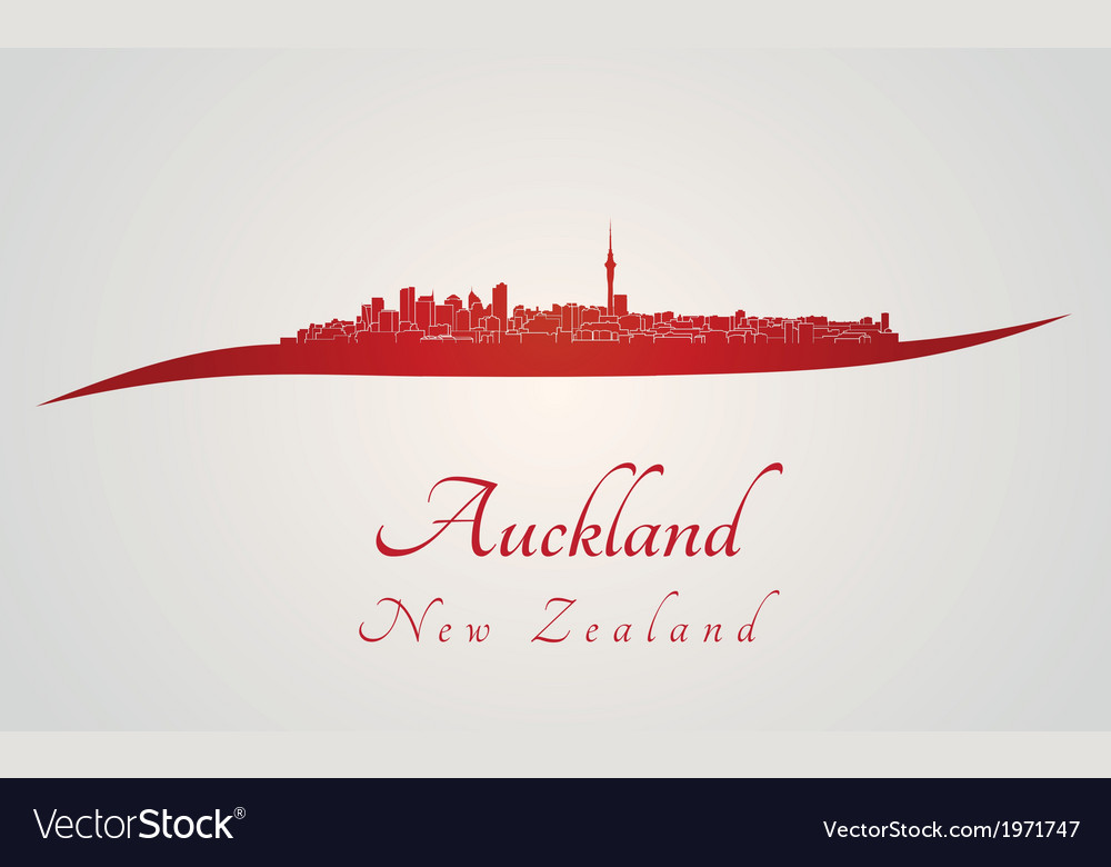 Auckland skyline in red vector | Price: 1 Credit (USD $1)