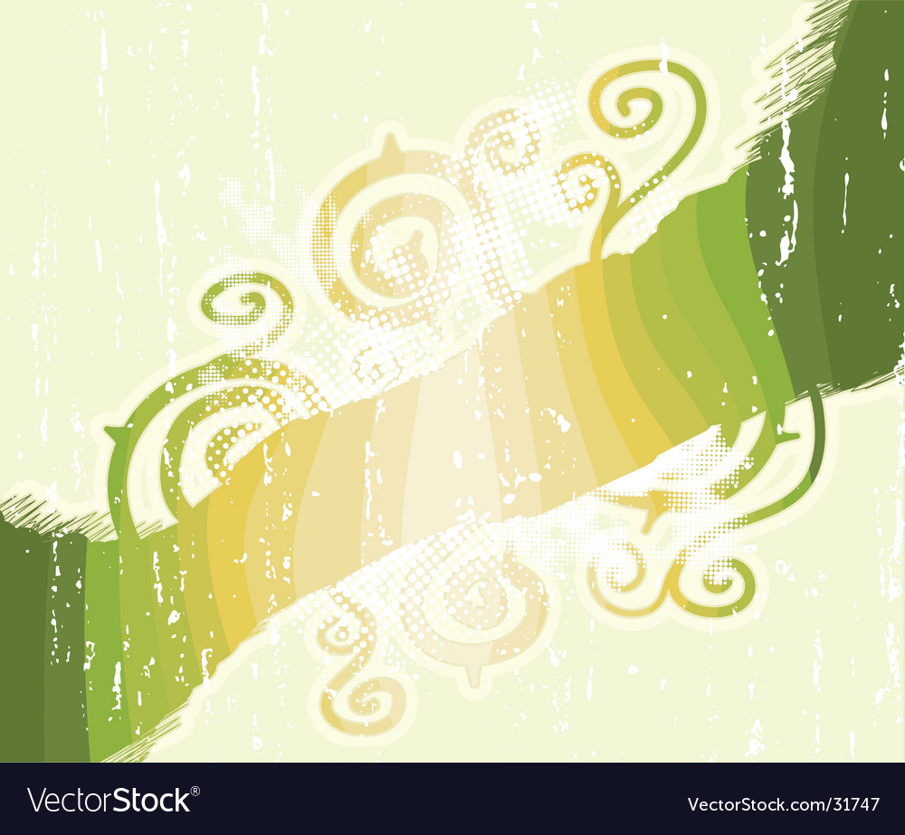 Green stripes floral swirls background vector | Price: 1 Credit (USD $1)