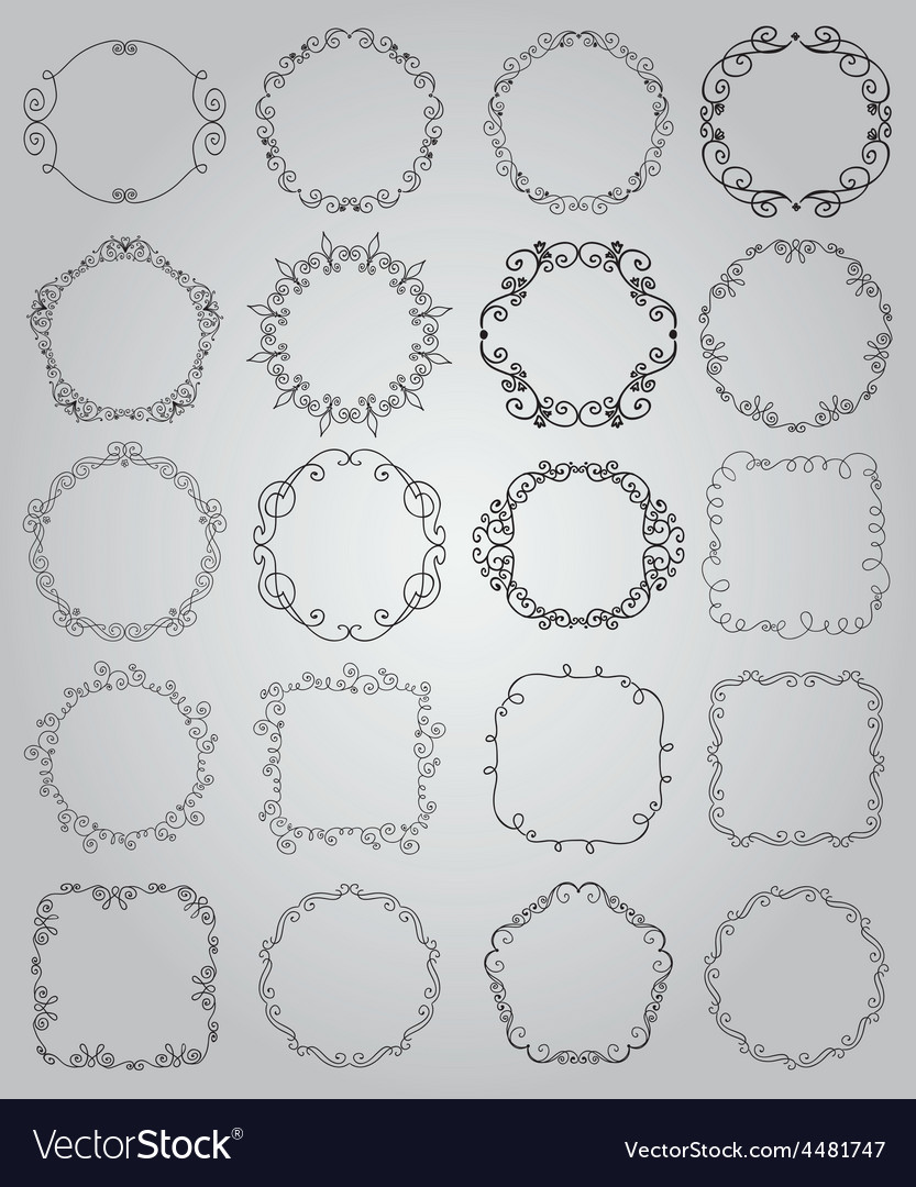 Hand drawn doodle borders and frames vector | Price: 1 Credit (USD $1)