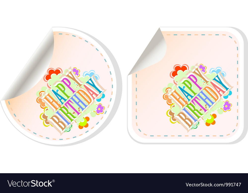 Happy birthday and holidays stickers form vector | Price: 1 Credit (USD $1)