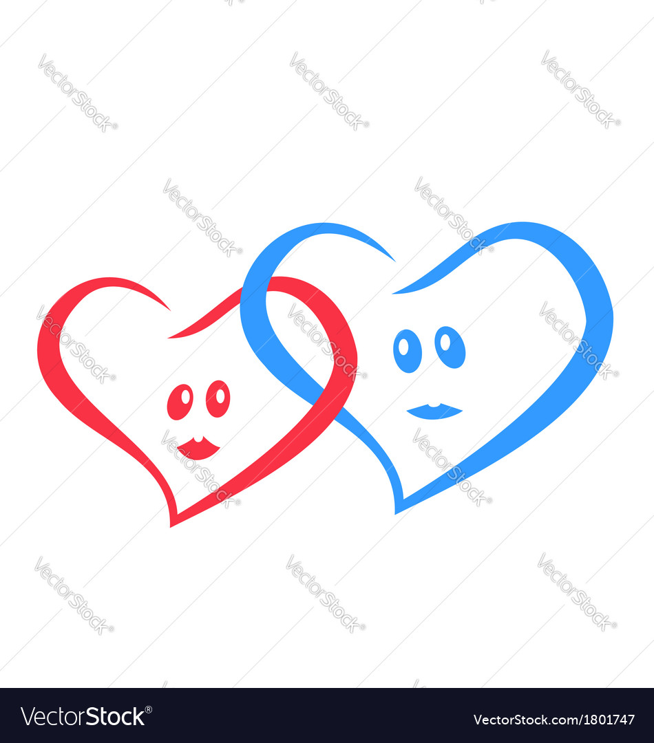Logo love hearts together red and blue vector | Price: 1 Credit (USD $1)