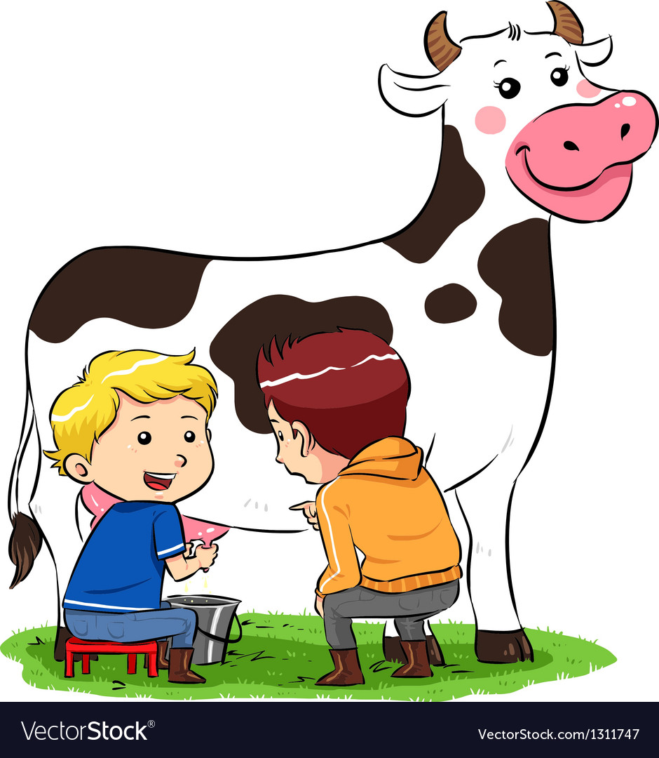 Milking a cow vector | Price: 1 Credit (USD $1)
