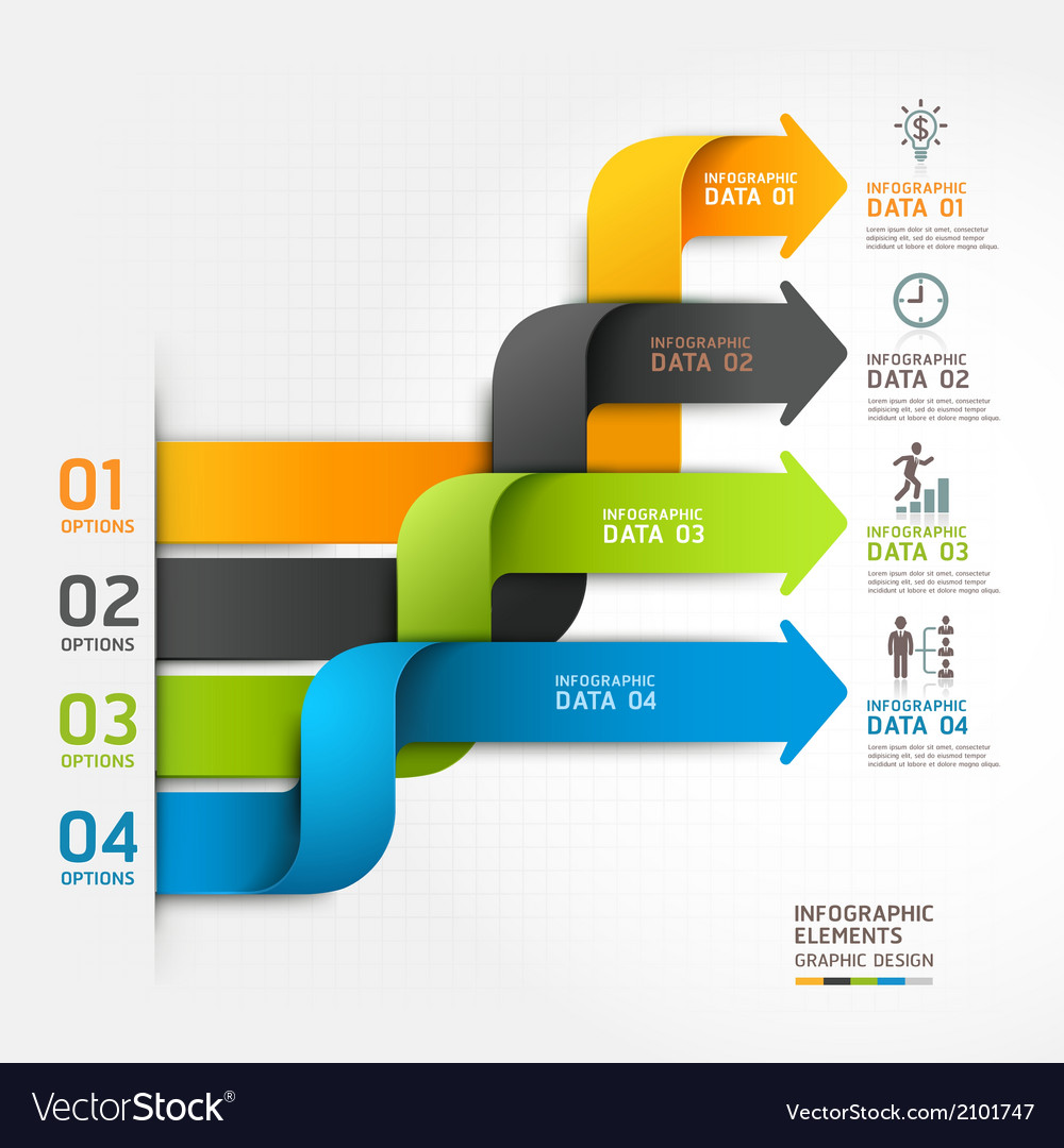 Modern arrow business infographics ribbon style vector | Price: 1 Credit (USD $1)