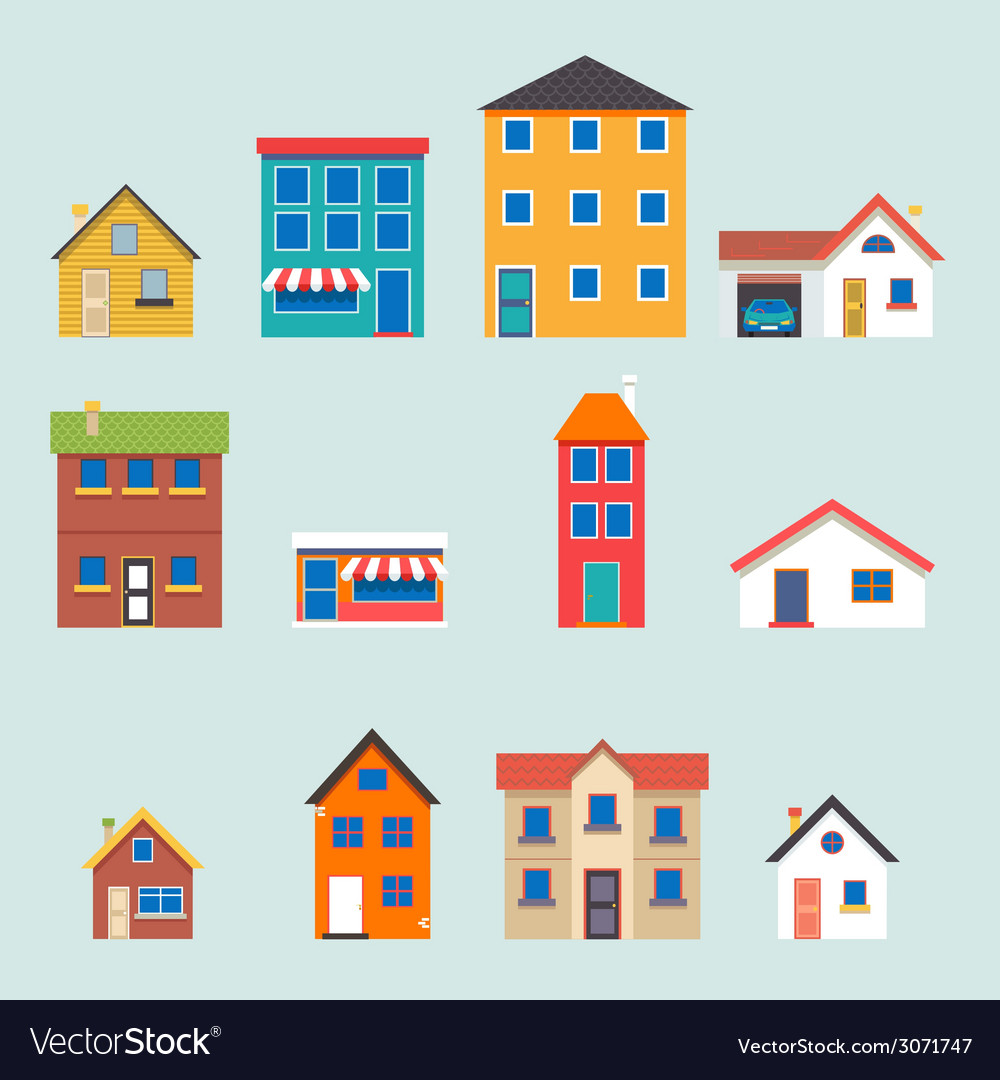 Modern trendy retro house street flat icons set vector | Price: 1 Credit (USD $1)