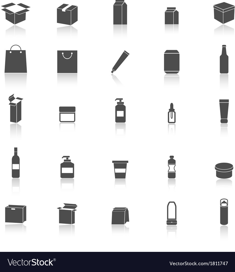 Packaging icons with reflect on white background vector | Price: 1 Credit (USD $1)