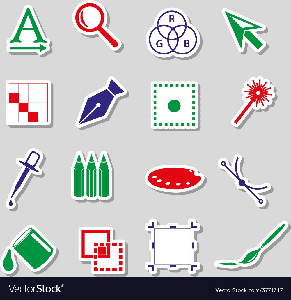 Various computer graphics color stickers set eps10 vector | Price: 1 Credit (USD $1)